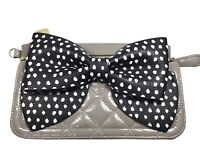 BETSEY JOHNSON Women's Dotted Bow Patent Gray  Zip Wallet