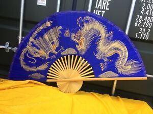"Large Thai Wall Fan Hand Painted Dragon ""thai silk"" background"
