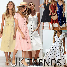 UK Womens Mini Ladies Dress Floral Print Ruffle V Summer Beach Buttons Midi Tie
