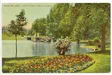 Boston Massachusetts,Public Gardens,Swan Pond, Boats, Bridge, Flowers circa 1910