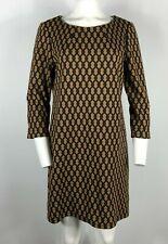 VIVIENNE TAM Dress Sheath Brown Black 3/4 Sleeve Thick Stretch Size 12 #Y10