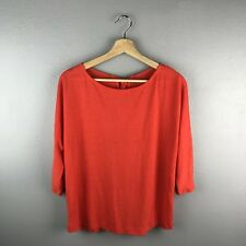 Loft XS Orange Shirt Solid 3/4 Sleeves Casual Top Fall Women's