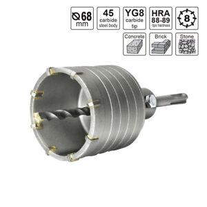 S&R Hohl-Bohrkrone Set Ø 68mm mit SDS plus Adapter 110mm, Zentrierbohrer 8x110mm