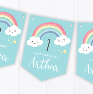 Personalised Rainbow Happy Birthday Bunting, Children's Party Decoration Blue