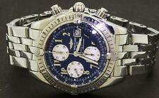 Breitling Evolution A13356 SS mens chronograph watch w/ black dial