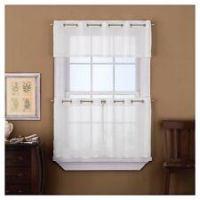 "New Sidney White Textured Valance & Tier Panel Set 60"" x 36"" Window Curtains"