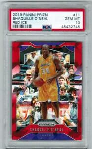 SHAQUILLE O'NEAL SHAQ 2019 PRIZM RED ICE REFRACTOR PSA 10 LAKERS JERSEY