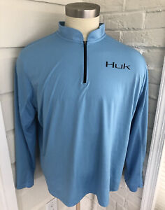 Huk Fishing Mens Performance Long Sleeve 1/4 Zip Shirt Light Blue Stretch XXL