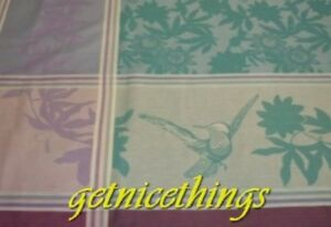 New Yves Delorme Cachcache Floral Birds Cotton Jacquard Blue Purple Tablecloth