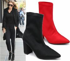 WOMENS LADIES HIGH STILETTO HEEL POINTED TOE STRETCH LYCRA SOCK ANKLE BOOTS SIZE