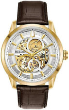 Bulova 97A138 Men's Sutton Gold Tone Leather Band Skeleton Automatic Watch
