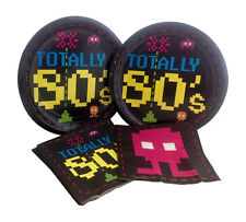 Totally 80's Arcade Video Game Birthday Party Paper Plates Napkins for 16