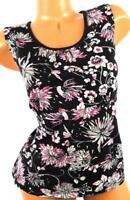 Charter club black multi color floral print women's plus sleeveless top XL