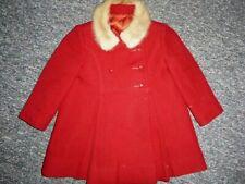 Vtg 50's-60's SJ Buchman Co Red Wool Coat W/Real Fur Collar Little Girl's Sz 4