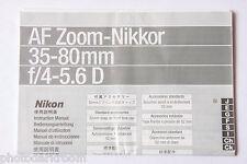 Nikon  AF Zoom Nikkor 35-80 D Manual Instruction Book English Ja De Fr USED B71