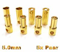 5 Paar 10 Stück 5mm Hochstrom 120A Goldkontaktstecker Stecker Buchse 5,0mm 5 mm