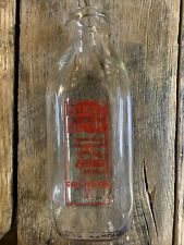 Tolleston Dairy Red Pyro Square Glass Quart  Milk Bottle Gary, Indiana