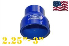 """Silicone Straight Reducer Coupler Hose 57mm - 76mm 2.25"""" - 3"""" (4-ply) Blue"""