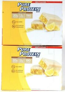 2 Boxes Pure Protein 10.58 Oz Lemon Cake 20g Protein GF 6 Count Bar BB 10/29/21