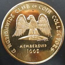 Nationwide Club of Coin Collectors brass token! 40 mm, 26 grams.!