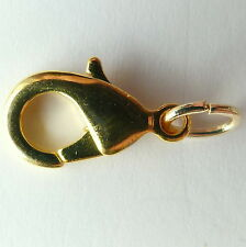 13mm Lobster clasp Gold plated, complete with jump ring  X 25. Made in U.K.