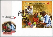 CENTRAL AFRICA  2015 BATTE AGAINST MALARIA RED CROSS  S/S  FIRST DAY COVER