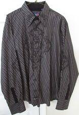 English Laundry Mens Long Sleeve Casual Shirt XL Black Very Ornate