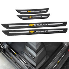 4pc Chevrolet Carbon Fiber Car Door Welcome Plate Sill Scuff Cover Panel Sticker