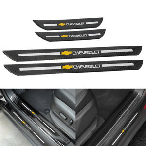 4pc Chevrolet Carbon Fiber Car Door Welcome Plate Sill Scuff Cover Panel Sticker