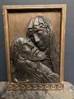 Sculpture Bas Relief Bois Sculpté 1950 Christ Marie Vierge Basque Ancien