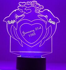 Dolphin Heart Night Light Personalized Free 16 Color Night Light Lamp Gift
