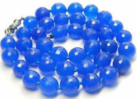"""Natural 10mm Faceted Blue Sapphire Round beads Necklace 18"""""""