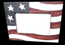 Rustic USA Red White Blue Stars Stripes Photo Picture Frame Decorative 3.5 X 5.5