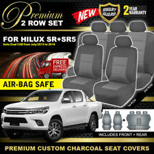 Premium CHARCOAL Custom Seat Covers for Hilux Dual Cab SR5 SR 2ROWs 7/2015-2018