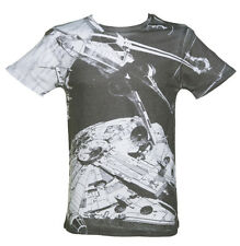 Star Wars Black and White Space Battle X-Wing Millennium Falcon T-Shirt