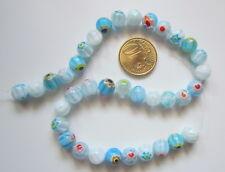 Hilo perlas bola cristal milflores 8 mm X 36 UNIDADES azul blanco abalorios