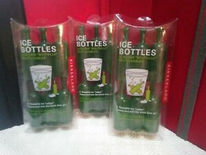 NEW KIKKERLAND ICE BOTTLES Reusable ice cubes in green bottle shape (3 packs)