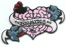 BRAINS zombie love EMBROIDERED IRON-ON PATCH **FREE SHIP -d 39180 -blue sparrows