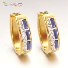 Fashion Blue Clear Cubic Zircon Inlay Gold Plated Lady Ear Jewelry Hoop Earrings