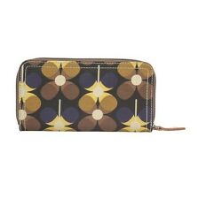 Orla Kiely Blue Yellow Blueberry Flower Big Zip Around Wallet Travel Purse New