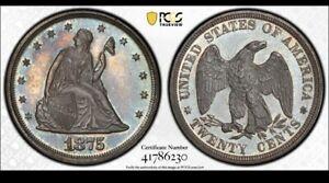 1875 Proof Twenty Cent Piece PCGS PR65 Slight Tone