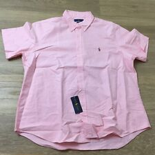 mens polo ralph lauren classic fit oxford short sleeve button up shirts pink