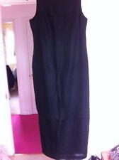 M&S Linen Dress Size 12 Black Long New Fully Lined Irish Linen Easy Iron