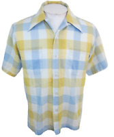 "Brent vintage 1960s Men plaid sport shirt s/s p2p 22"" butterfly collar slim"