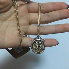 Vintage Engraved Eagle Nickel Pendant Long Necklace
