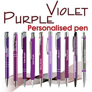 Promotional personalised pen *PURPLE/VIOLET * black ink * school leavers *Ladies