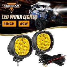 """AUXBEAM Pair 4"""" 80W LED Work Lights Amber Offroad Driving Fog Lamp for ATV UTV"""