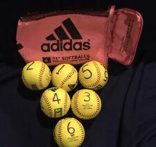 Adidas Softball Lot(6) Softballs Fast Pitch Optic Yellow 11� - Practice Numbered