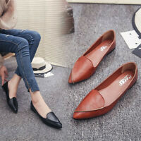 Women's Pointed Toe Flat Loafers Slip Flats Slip-On Shoes PU Leather Flat Shoes