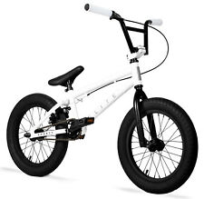 "Elite 16"" BMX Pee Wee Bicycle Freestyle Bike 1 Piece Crank White NEW"